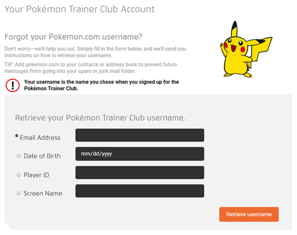 I forgot my Pokémon Trainer Club user name  How do I retrieve it