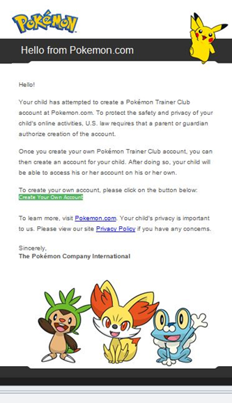 How do I verify my child's Pokémon Trainer Club account